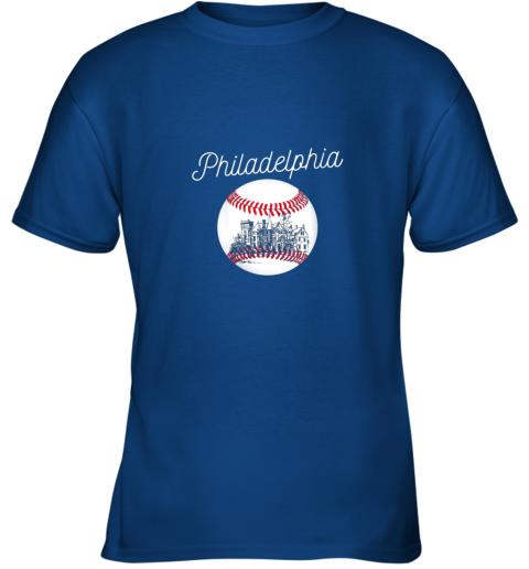 opqv philadelphia baseball philly tshirt ball and skyline design youth t shirt 26 front royal
