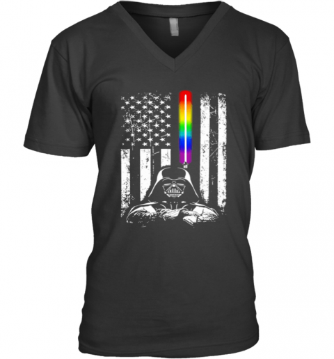 Darth Vader LGBT US Flag Rainbow V-Neck T-Shirt