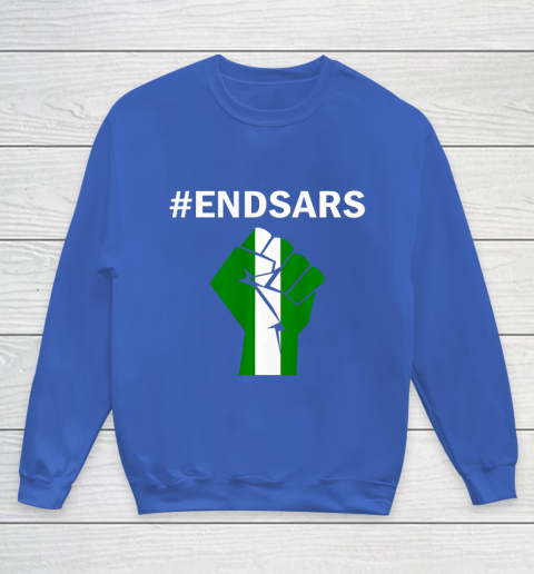 EndSARS End SARS Nigeria Flag Colors Strong Fist Protest Youth Sweatshirt 6