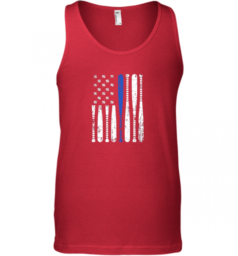 mdnr thin blue line leo usa flag police support baseball bat unisex tank 17 front red