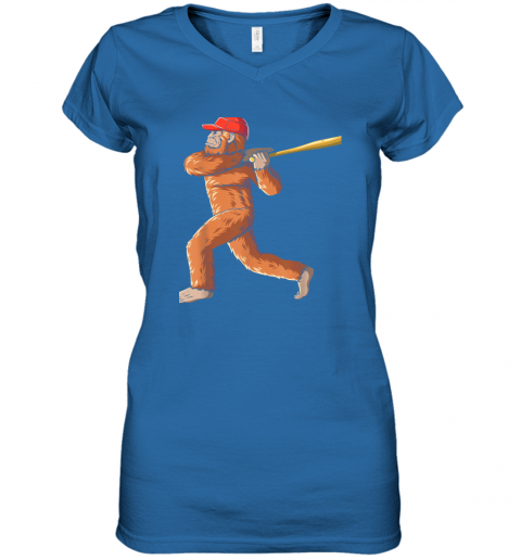 c7nb bigfoot baseball sasquatch playing baseball player women v neck t shirt 39 front royal