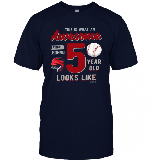 qc7u kids 5th birthday gift awesome 5 year old baseball legend jersey t shirt 60 front navy