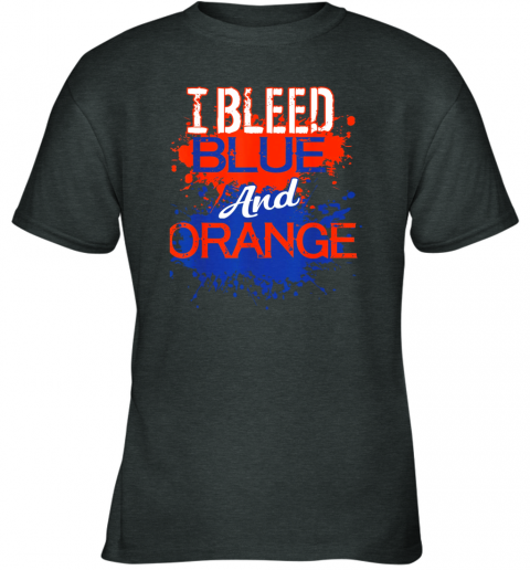 nn29 i bleed blue and orange fan shirt football soccer baseball youth t shirt 26 front dark heather