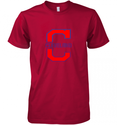 kzt2 cleveland hometown indian tribe vintage premium guys tee 5 front red