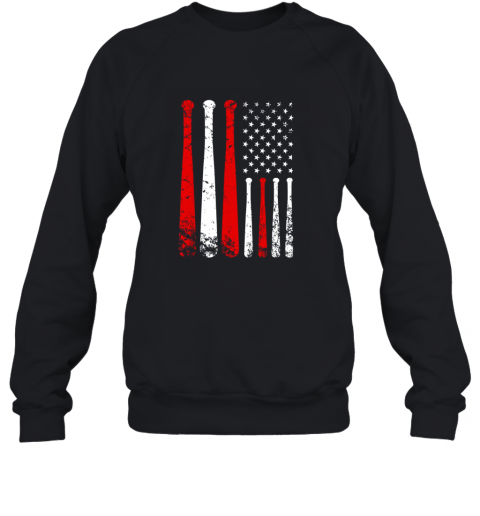 Baseball Inspired American Flag Distressed Sweatshirt