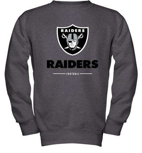 g3kk oakland raiders nfl pro line black team lockup youth sweatshirt 47 front dark heather