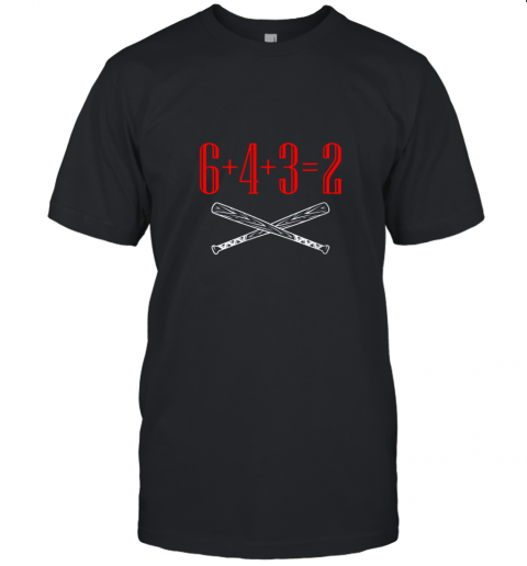Funny Baseball Math 6 plus 4 plus 3 equals 2 Double Play Unisex Jersey Tee