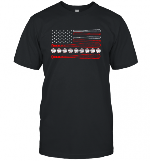 Vintage American Flag Baseball 4th July Unisex Jersey Tee