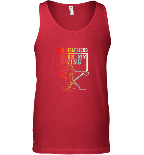 mul1 baseball your girlfriend likes my swing gift unisex tank 17 front red