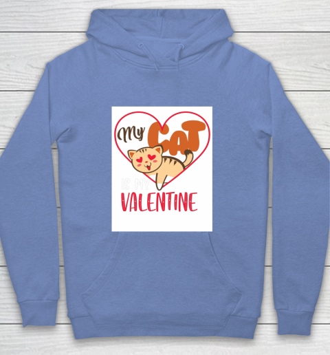 Cute My Cat Is My Valentine Cat Lover Valentines Day Gift Youth Hoodie 8