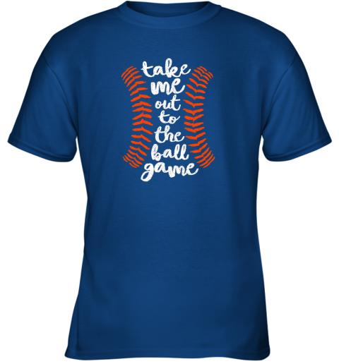 uvoz take me out ball game shirt baseball song orange black blue youth t shirt 26 front royal
