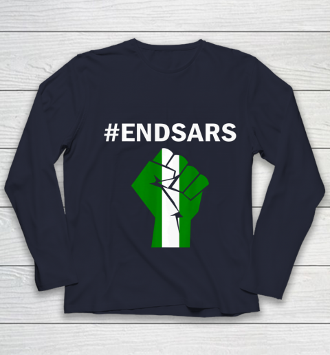 EndSARS End SARS Nigeria Flag Colors Strong Fist Protest Youth Long Sleeve 2