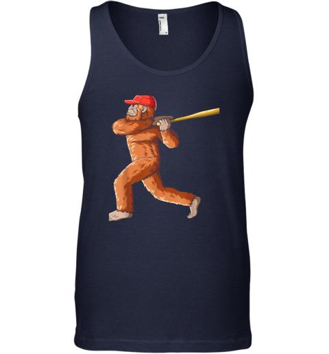 nui4 bigfoot baseball sasquatch playing baseball player unisex tank 17 front navy