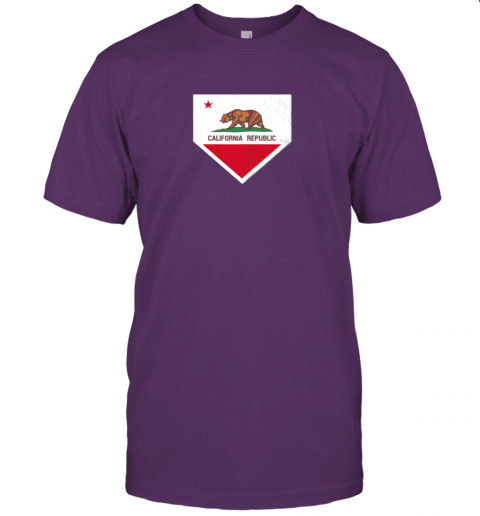 9qsz vintage baseball home plate with california state flag jersey t shirt 60 front team purple