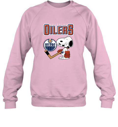 biud edmonton oilers ice hockey broken teeth snoopy nhl shirt sweatshirt 35 front light pink