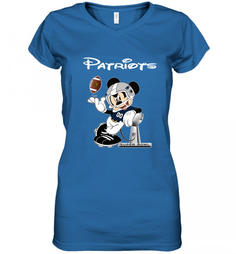 ro5e mickey patriots taking the super bowl trophy football women v neck t shirt 39 front royal