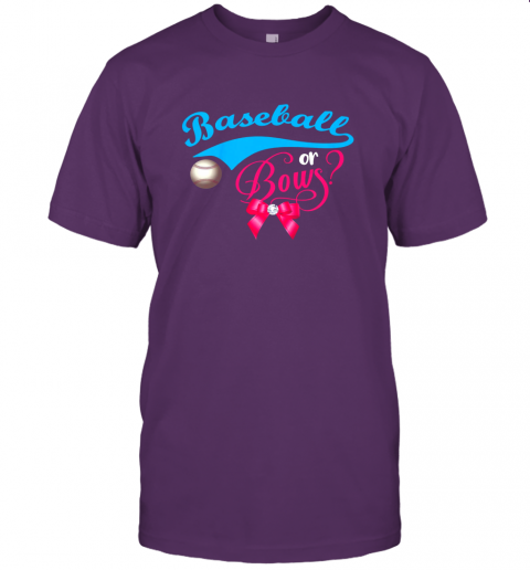 nskq cute baseball or bows gender reveal party jersey t shirt 60 front team purple