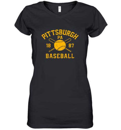 Vintage Pittsburgh Baseball Pennsylvania Pirate Retro Gift Women's V-Neck T-Shirt