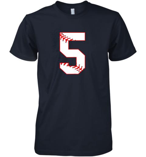 053k cute fifth birthday party 5th baseball shirt born 2014 premium guys tee 5 front midnight navy
