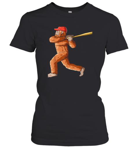 Bigfoot Baseball Sasquatch Playing Baseball Player Women's T-Shirt
