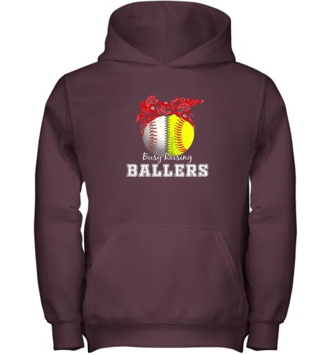 s41x busy raising ballers softball baseball shirt baseball mom youth hoodie 43 front maroon