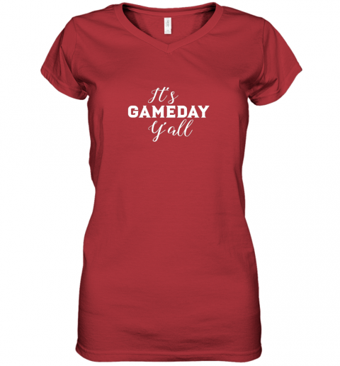 pyay it39 s game day y39 all football baseball basketball women v neck t shirt 39 front red