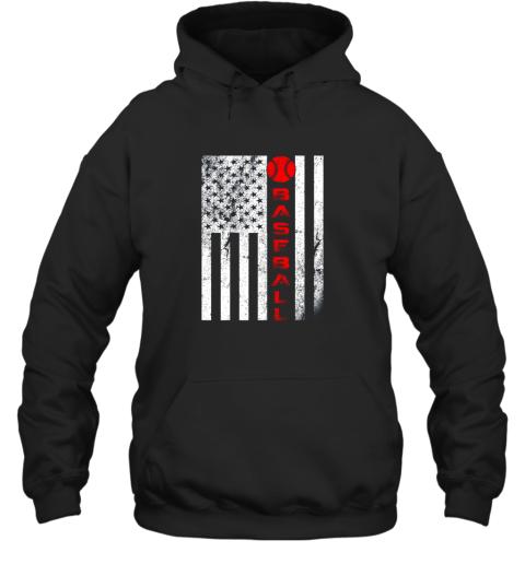 USA Red White  Vintage American Flag Baseball Gift Hoodie