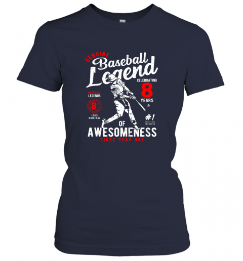no05 kids 8th birthday gift baseball legend 8 years ladies t shirt 20 front navy