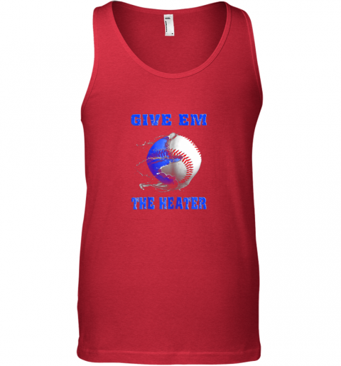 ljeh give em the heater baseball pitcher unisex tank 17 front red