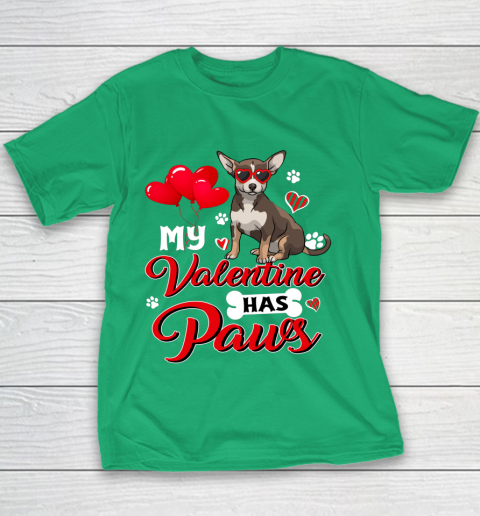 My Valentine Has Paws Chihuahua Valentine s Day Youth T-Shirt 3