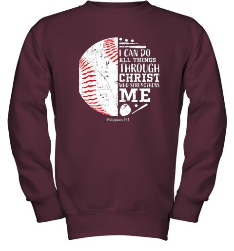 761o christian baseball shirts i can do all things through christ youth sweatshirt 47 front maroon