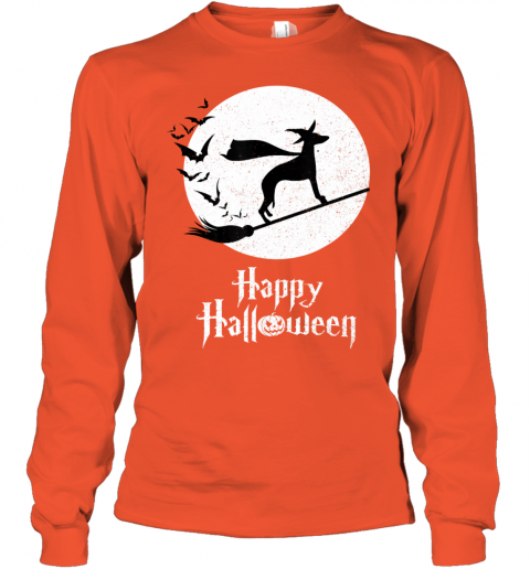 Funny Halloween Costume Witch WHIPPET Dog Lover Gift Youth Long Sleeve