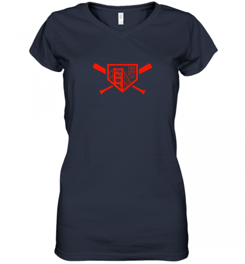 t24y cool san francisco baseball the city bridge sfo women v neck t shirt 39 front navy