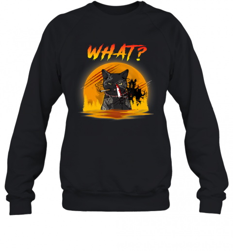 What Cat Murder with Knife Horror Cat Moon Halloween gift Sweatshirt