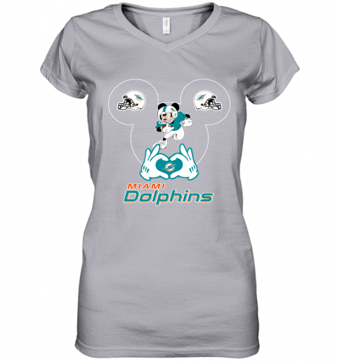 nw71 i love the dolphins mickey mouse miami dolphins women v neck t shirt 39 front sport grey