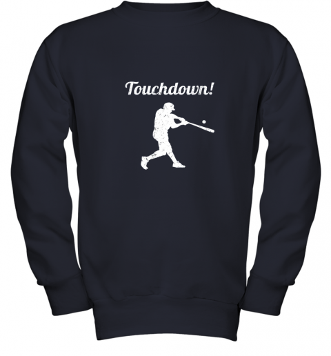 p0vj touchdown funny baseball youth sweatshirt 47 front navy