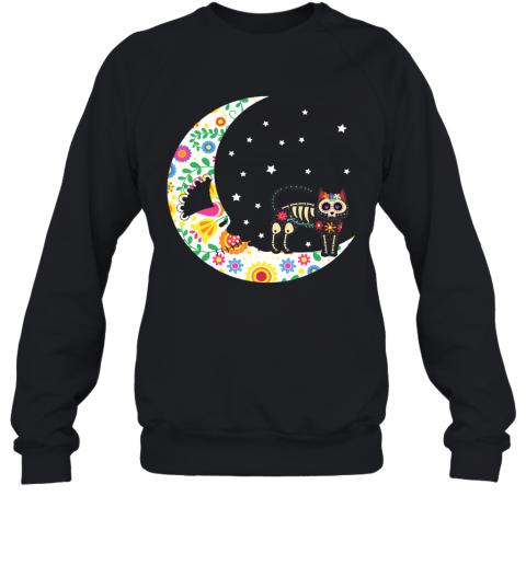 Sugar Skeleton Cat and Moon Dia de Los Muertos Halloween Sweatshirt