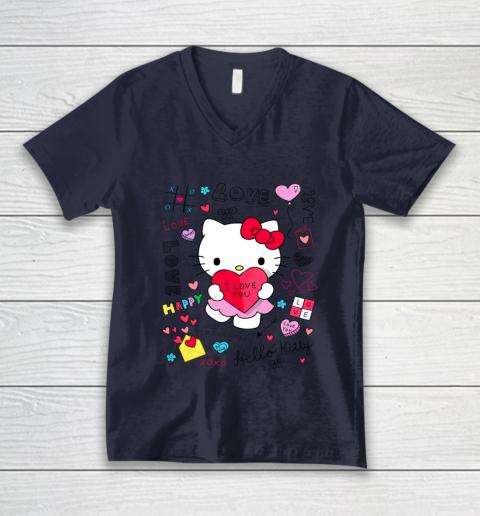 Hello Kitty Love Notes Valentine Tee V-Neck T-Shirt 2