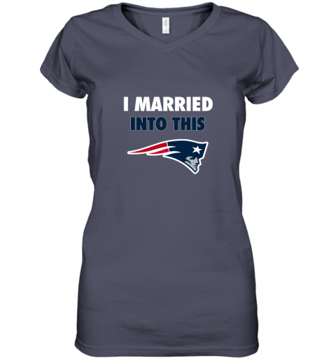 xgdu i married into this new england patriots football nfl women v neck t shirt 39 front heather navy