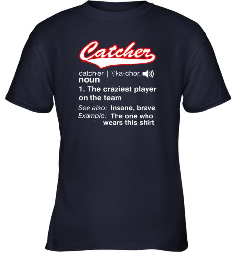 26cz softball baseball catcher shirtvintage funny definition youth t shirt 26 front navy