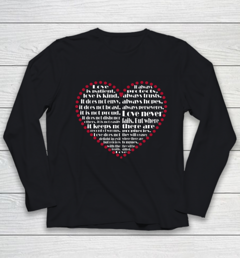 Love is patient love is kind Valentine Hearts Valentines day Youth Long Sleeve