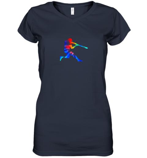 kroj tie dye baseball batter shirt retro player coach boys gifts women v neck t shirt 39 front navy