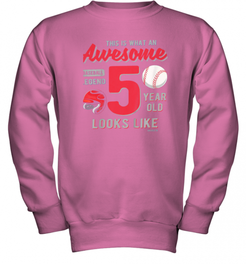 fswj kids 5th birthday gift awesome 5 year old baseball legend youth sweatshirt 47 front safety pink
