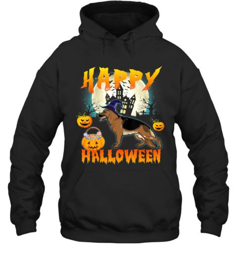 Happy Halloween Cute German Shepherd Dog Witch Pumpkin Ghost Hoodie
