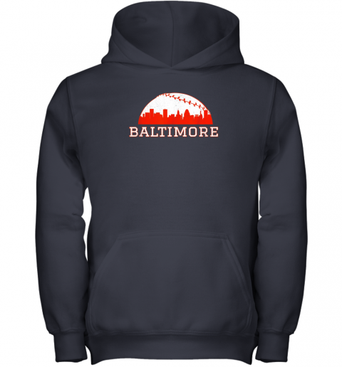 urni vintage downtown baltimore md baseball skyline youth hoodie 43 front navy