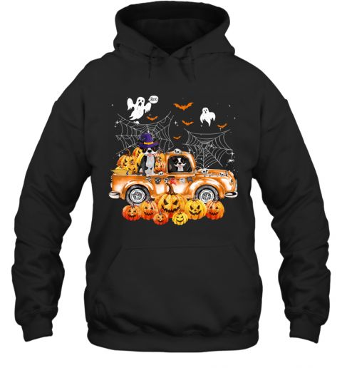 Boston Terrier Dog On Pumpkins Truck Autumn Halloween Gift Hoodie