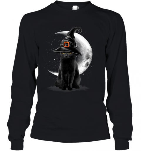 Vintage Scary Black Cat Halloween Witch Hat & Moon Youth Long Sleeve