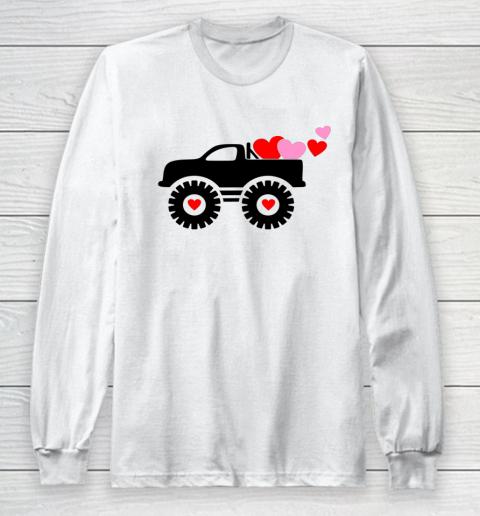 Valentine Monster Truck Loads of Love Hearts Shirt Gift Long Sleeve T-Shirt