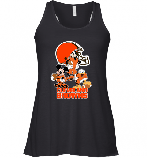 pwk3 mickey donald goofy the three cleveland browns football flowy tank 32 front black