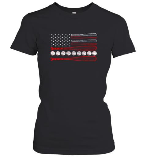 Vintage American Flag Baseball 4th July Women's T-Shirt